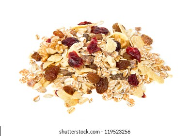 A handful of muesli with dried fruit