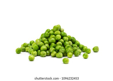 Handful of raw peas isolated