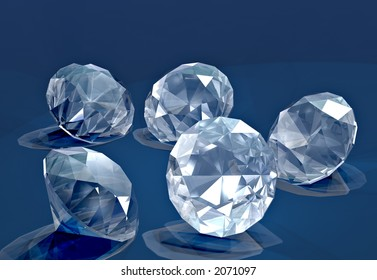 A handful of small cut diamonds on blue velvet