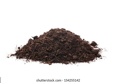 handful of soil on a white background