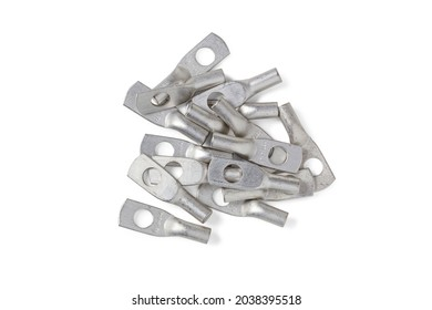 Handful of tinned copper electrical lugs for wiring electrical circuits isolated on white