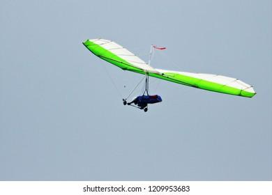 Hand-glider in flight