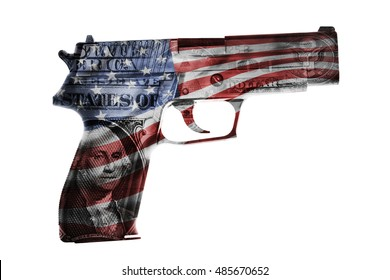 Handgun, American cash and flag composite
