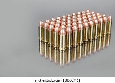 Handgun ammunition reflection  box of bullet