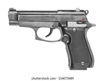 Handgun isolated on white background.
