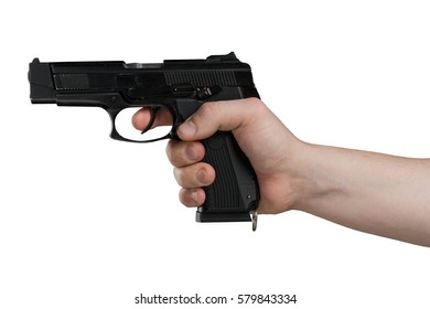 Handgun in male hand isolated on white background