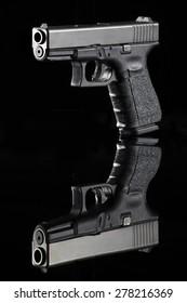 handgun on black