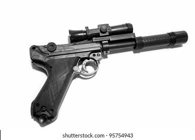 Handgun on plain background