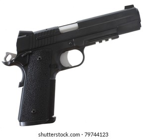 Handgun that has a black finish and grips on a white background