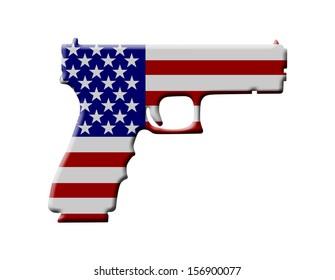 A Handgun in the USA flag colors, Handgun weapon in the USA