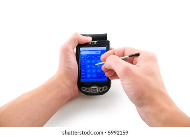 Handhedl computer in hands, isolated white