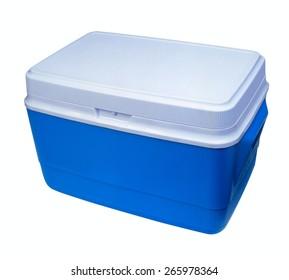 Handheld blue refrigerator isolated. Object on white