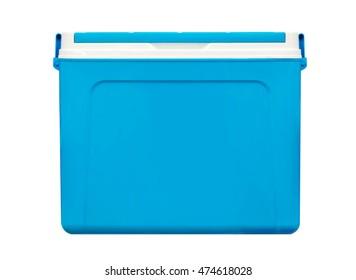 Handheld blue refrigerator isolated on white background.