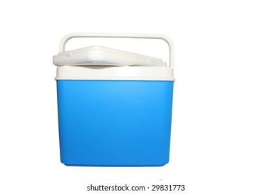 Handheld blue refrigerator isolated over white background