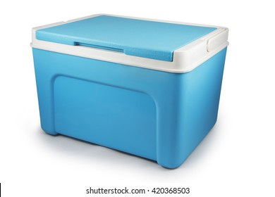 Handheld blue refrigerator isolated over white background. cooler