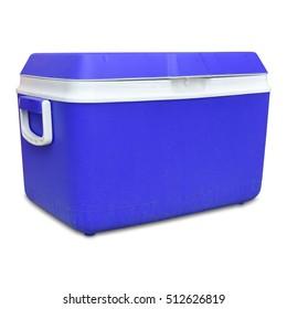 Handheld blue refrigerator isolated over white background.