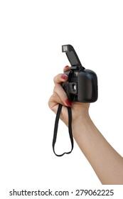 Handheld camera, black on white background.