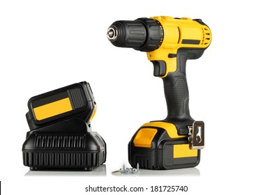 Handheld cordless power drill, battery, battery charger, screws on a white background.