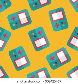 Handheld game consoles flat icon,seamless pattern background