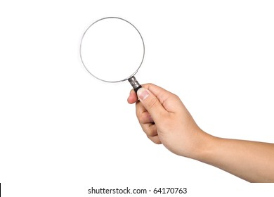 Hand-held magnifying glass in white background