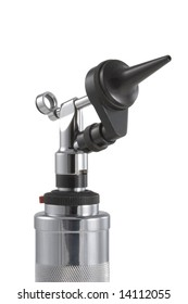 Handheld otoscope medical device.  Used by medical professionals for  examining the human ear and tympanic membrane.  On a white background.
