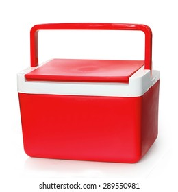 Handheld Red refrigerator isolated over white background. This has clipping path.