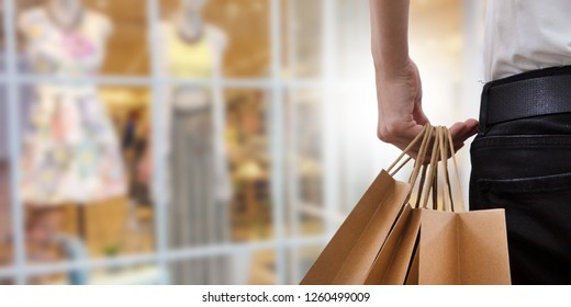 hand-held shopping bags, shopping mall