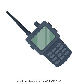 Handheld transceiver icon in cartoon style isolated on white background. Police symbol stock bitmap illustration.