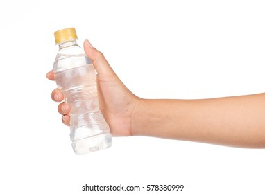 hand,holding bottle of mineral water isolated on white background