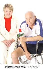 handicap happy elderly couple