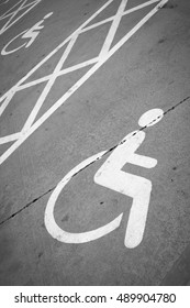 Handicap parking with disabled sign - Parking area - Black and White