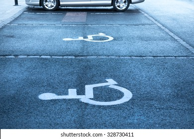 Handicap symbol on parking space