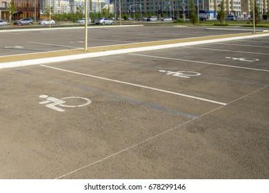 Handicap symbol on parking space