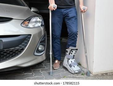 handicap walking in tight space between car