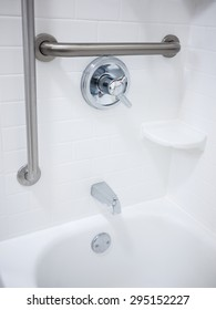 Handicapped disabled access bathroom shower bathtub with grab bars
