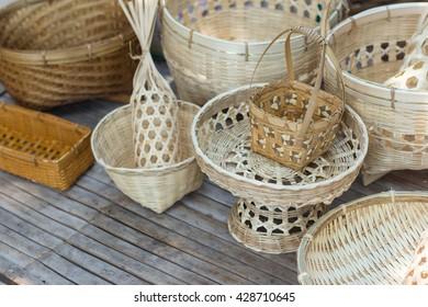 Handicraft of Bamboo and wicker Basket