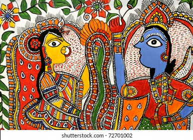 A handicraft of Hindu God Krishna and Hindu Goddesses Radha.