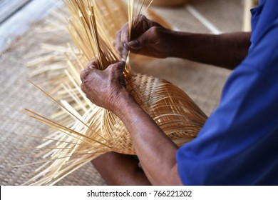 Handicraft product from bamboo to make a food box.