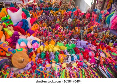 handicraft and souvenir Market Stall full of bright and cheerful colors made by indigenous people