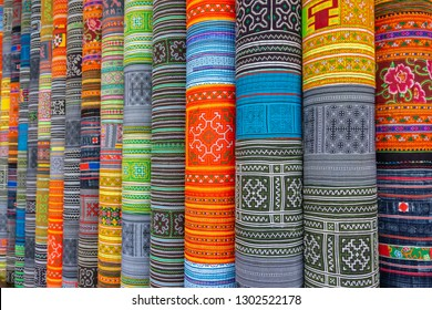 Handicrafts embroidered cloth with traditional pattern of ethnic minority Hmong in Vietnam