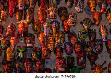 Handicrafts, Guatemalan wooden souvenirs masks on the local market.