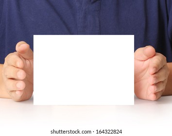 handing a blank business a4 card over in hand