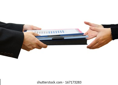 Handing File Folder ,teamwork concept