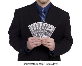 Handing over money in a business deal