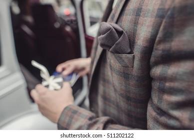 Handkerchief in his jacket men outdoor