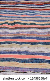 Hand-knotted stripy rug runner