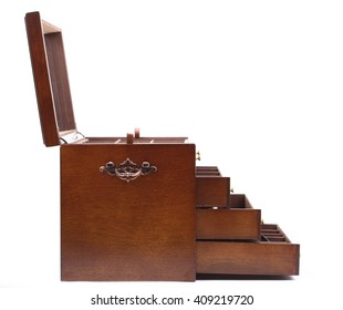 handle dark wooden trunk, chest box nobody isolated