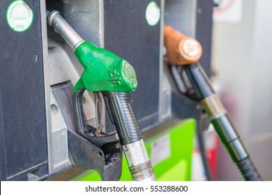 Handle fuel nozzle to refuel.
