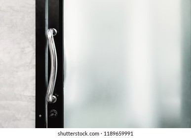 handle and lock of frosted glass door