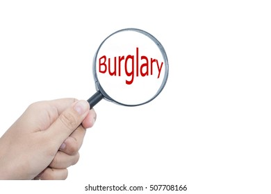 Handle magnifier that Burglary on a white background.